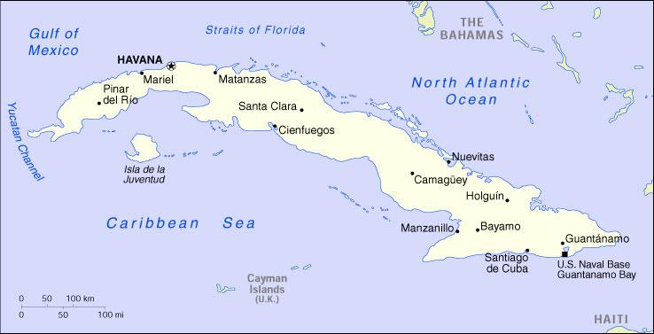 Cuba Mappa Cartina Geografica Politica Mappa Stradale Vista
